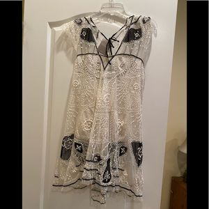 Anthropologie delicate lace top in white and black